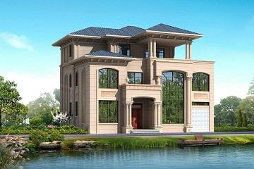 三层带车库别墅设计图_欧式三层自建房图纸