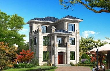 10x13米新农村三层带露台自建房设计图,农村自建别墅推荐
