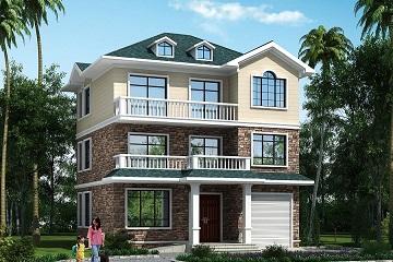 三层别墅设计图中式田园风,带露台、室内车库