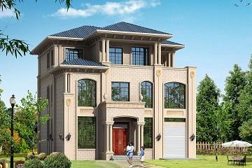 欧式高端三层自建别墅设计图,带有室内车库