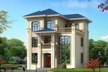 10.44m*11.34m三层欧式自建房屋设计图,带露台,小户型 经济实用