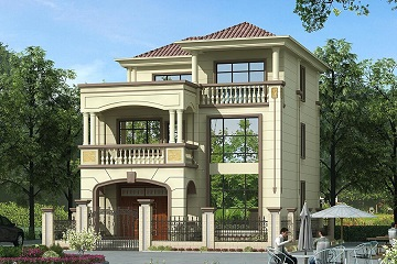 占地129平方三层自建小别墅,外观精致,布局合理