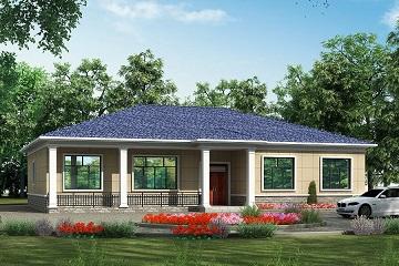 1层农村自建房屋设计图,占地277㎡,19.5m*14.7m,一层自建别墅