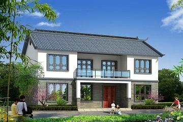 新中式二层自建房设计图,占地140平双拼别墅
