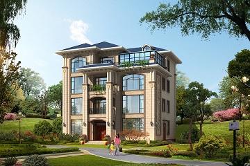 欧式四层自建别墅设计图,带有玻璃阳光房,采光良好,造型新颖