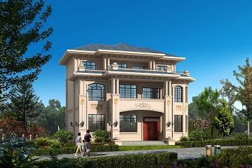 一款非常气派的三层自建别墅设计图,占地面积180平方米,造价约40万