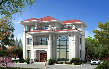15*13m欧式三层复式别墅设计图,带有室内车库,布局合理,外观精美