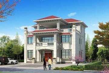 简约现代三层自建别墅设计图,每个房间都带有飘窗,美观精致