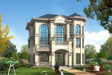 欧式三层复式别墅设计图,款式新颖,一层可做店铺