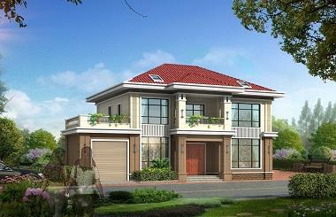 17*11m二层自建别墅设计图,造价30万左右,带有室内车库,经济实用