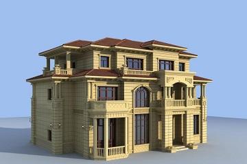 一款专门设计采光井的古典欧式别墅设计图,带有地下室