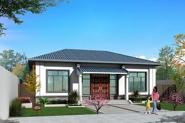 新中式一层自建房屋设计图纸,造价15万左右,美观精致,布局完善