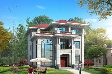 12.2m*19.1m精品欧式三层自建别墅设计图,造价60万左右,高端大气