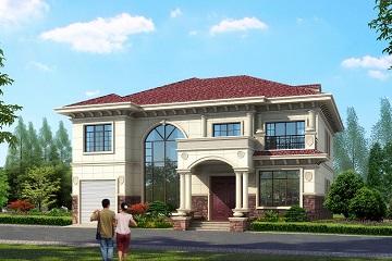 欧式田园二层自建复式别墅设计图,带有室内车库,美观精致,轩鼎建筑原创出品