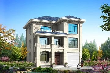 农村三层自建小别墅设计图,带有室内车库,