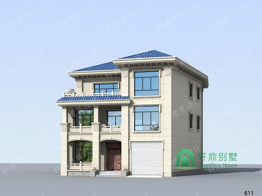 农村三层带车库自建别墅设计图侧面效果图.jpg