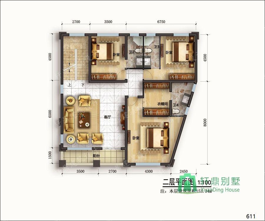 农村三层带车库自建别墅设计图二层平面.jpg