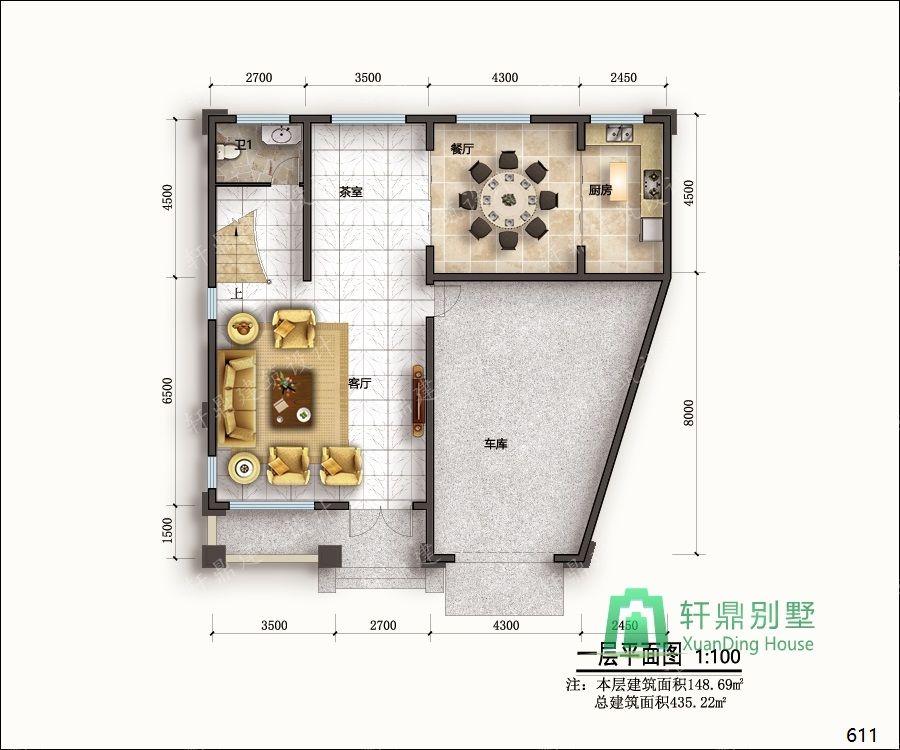 农村三层带车库自建别墅设计图一层平面.jpg