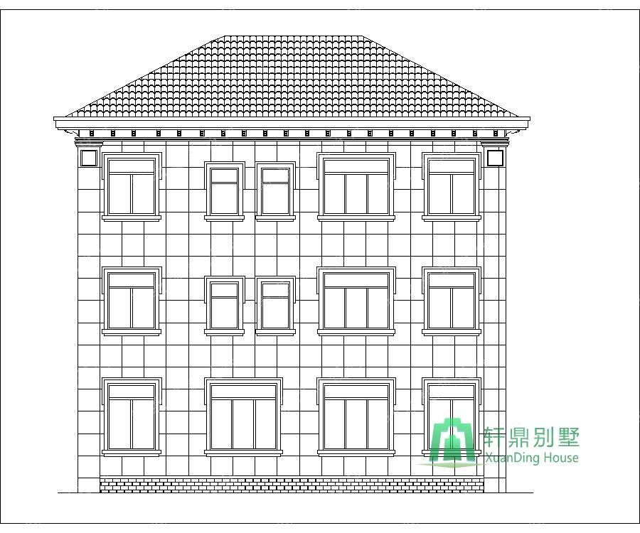 农村三层带车库自建别墅设计图背立面.jpg