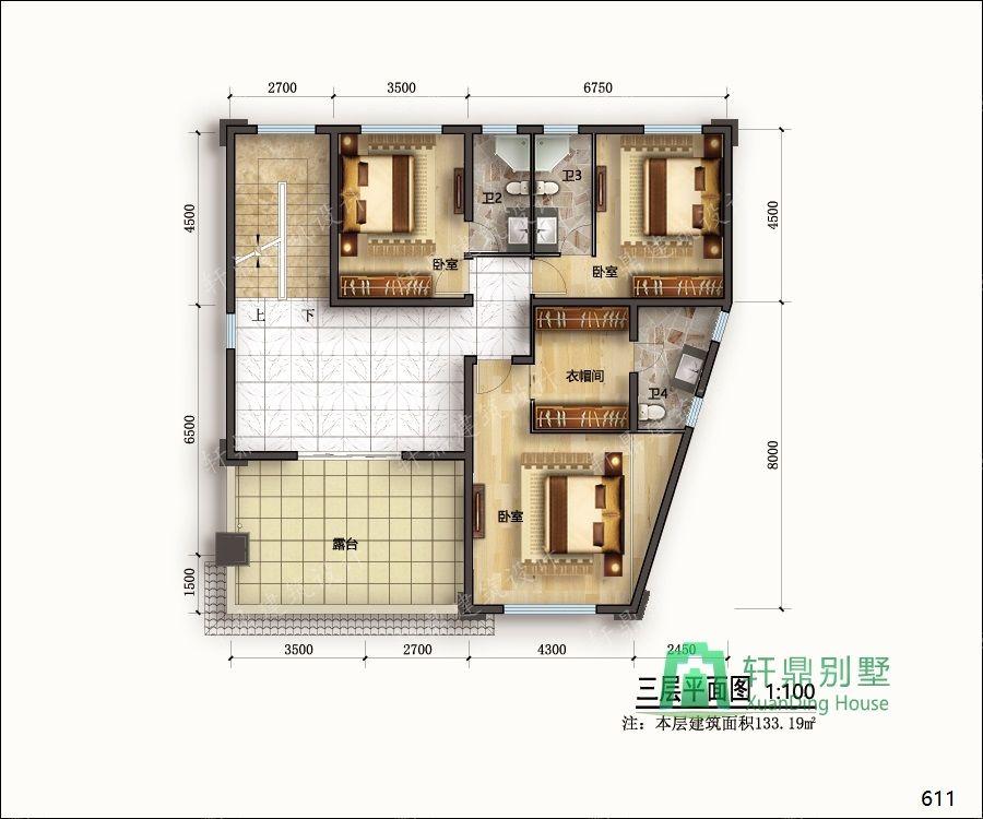 农村三层带车库自建别墅设计图正三层平面.jpg