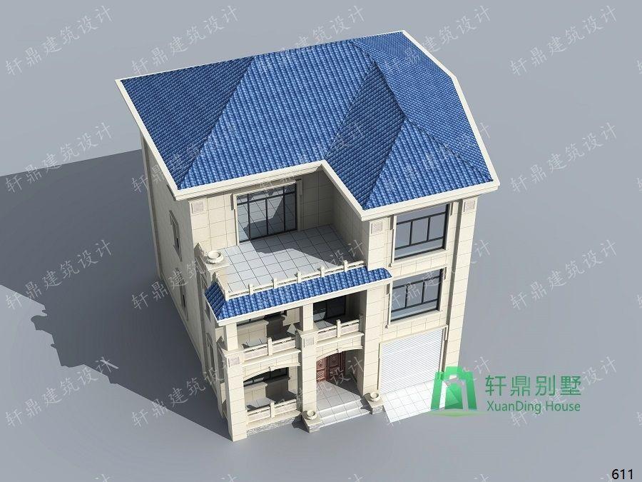 农村三层带车库自建别墅设计图俯视效果图.jpg