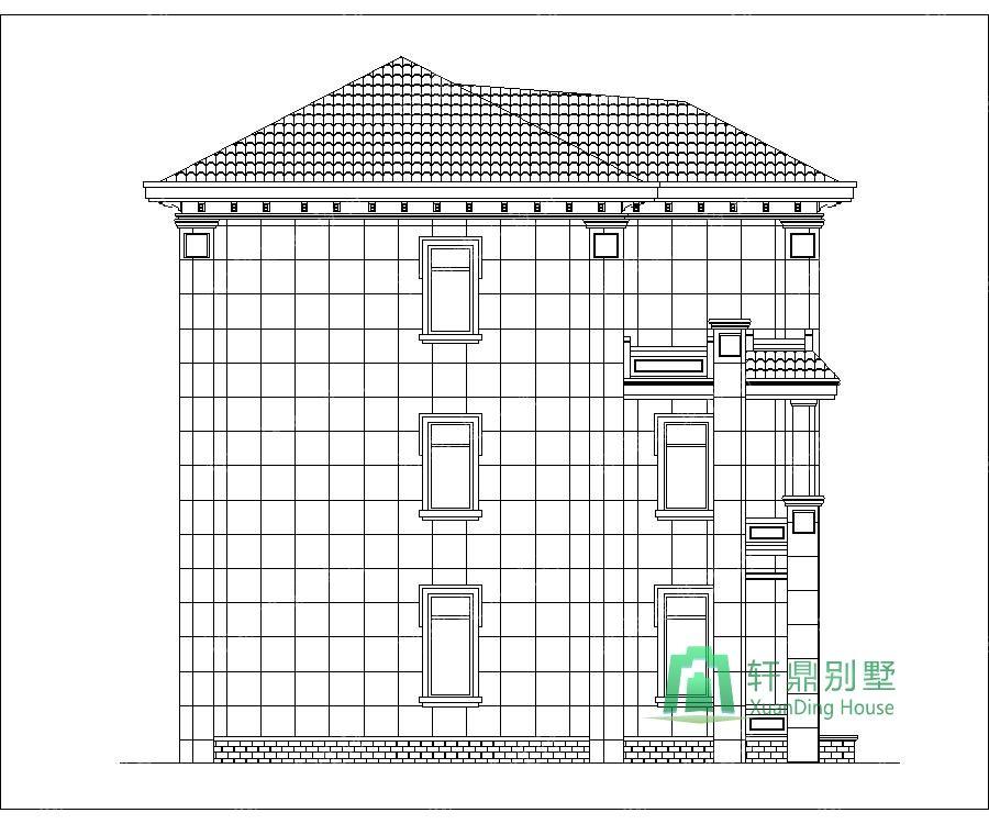 农村三层带车库自建别墅设计图左立面.jpg