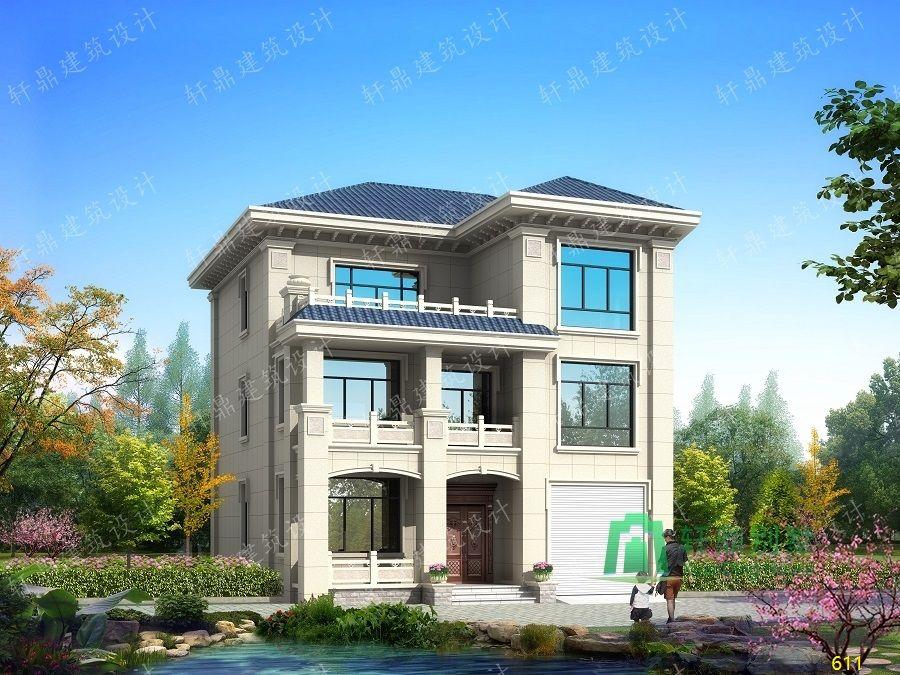 农村三层带车库自建别墅设计图正面效果图.jpg