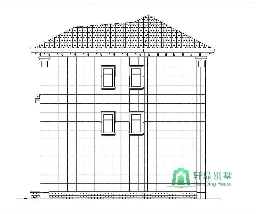 农村三层带车库自建别墅设计图右立面.jpg