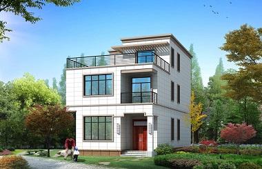 平顶三层自建别墅设计图,造价30万左右,带有大面积露台