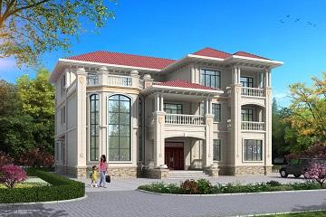 欧式豪华三层复式别墅设计施工图,占地353平方米