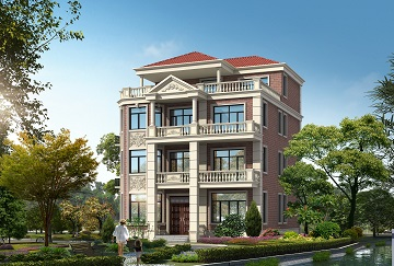 红墙4层自建别墅设计施工图,近几年流行的款式配色
