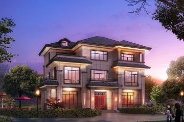 精致三层自建中式别墅设计施工图,带有庭院规划