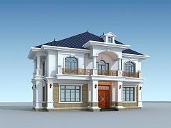 高端欧式带院复式别墅设计施工图,经典欧式自建房屋