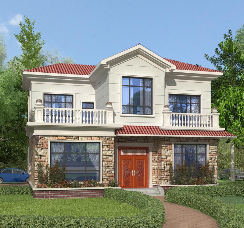 2020年流行款田园二层自建别墅设计施工图纸