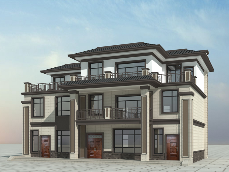 新中式三层自建别墅设计图,两梯两户