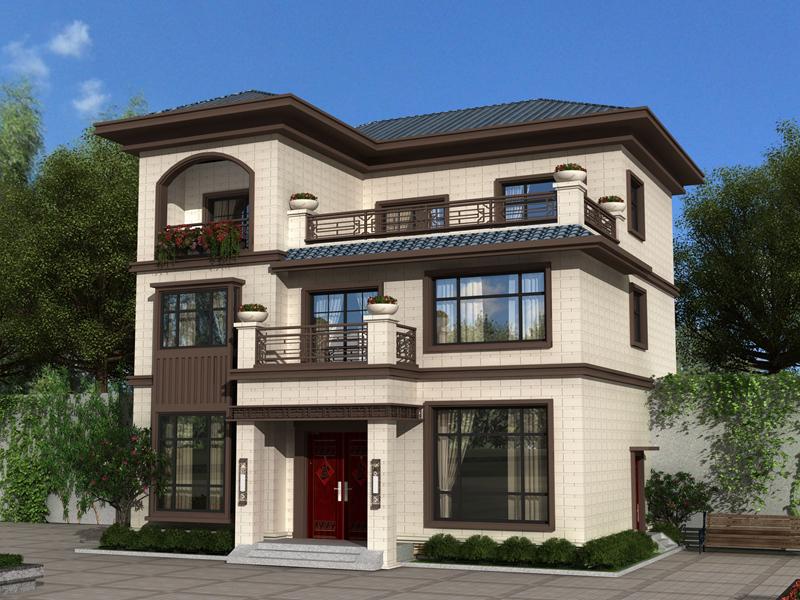 新中式三层自建别墅图纸,农村自建房设计