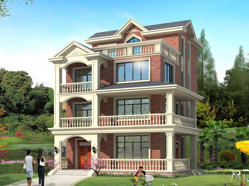 经典四层红砖别墅设计施工全套图,农村四层房屋图纸
