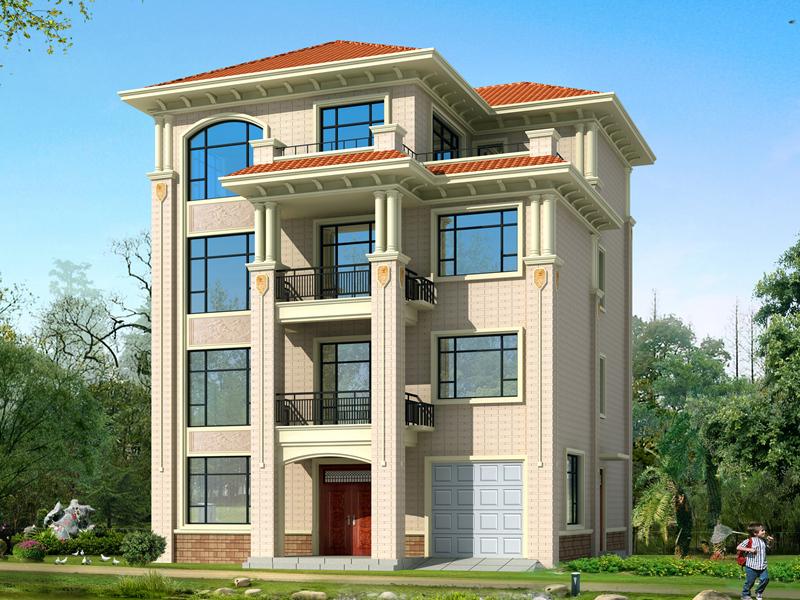 简单实用的四层自建房屋设计施工图,,带有室内车库的别墅设计