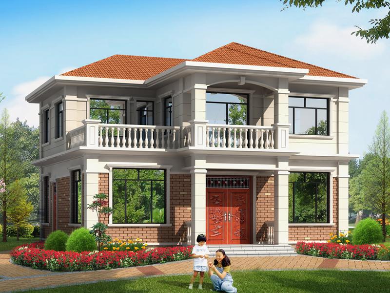 占地136平方米小户型二层自建房屋设计图,美观精致,经济实用