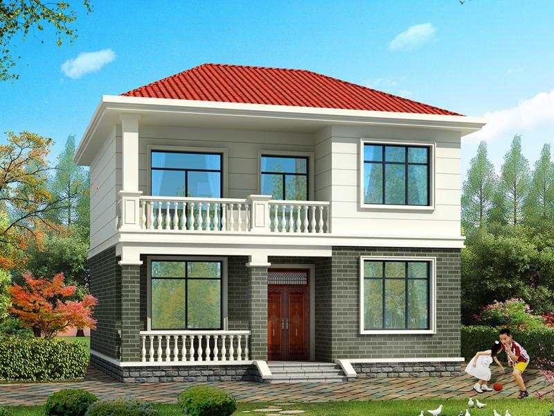 9.7*9.5m小户型二层自建房屋设计图,造价18万左右,温馨实用