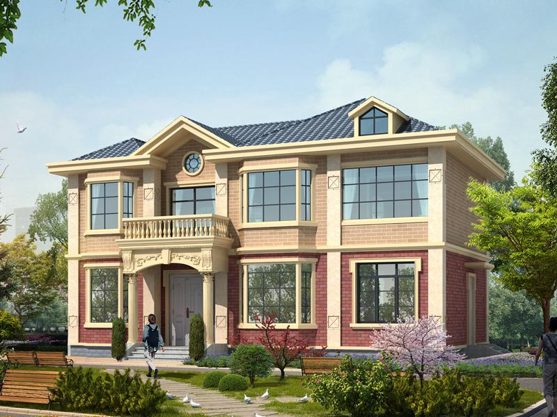 美式田园风格自建房屋设计图,15*9m,25万左右建美观小别墅