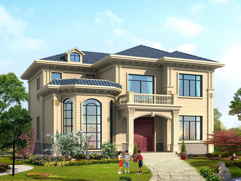13.5m*14.3m二层精致小别墅设计图,房间面积较大,居住舒适