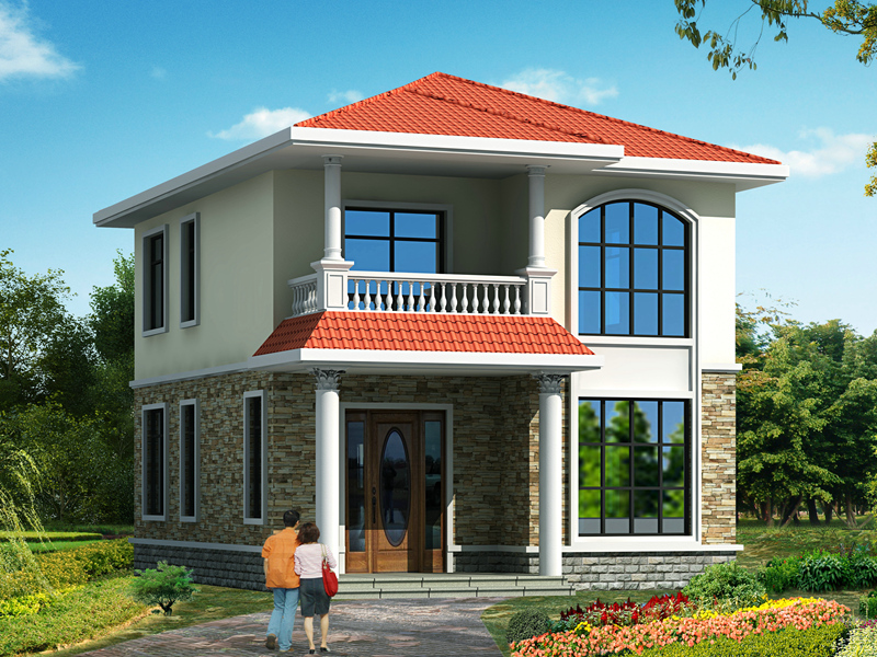 占地85㎡左右的二层小户型自建别墅设计图,造价18万左右,精品户型