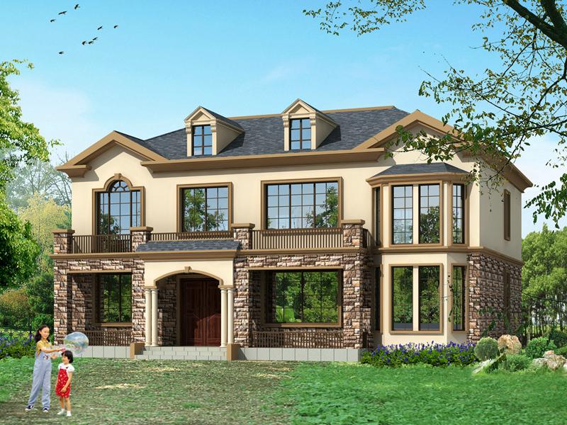 精品二层复式自建房屋设计图,带有老虎窗采光良好
