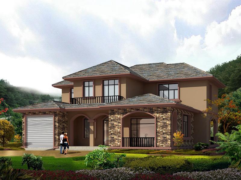 二层古典自建别墅设计图,大占地面积,带有室内车库