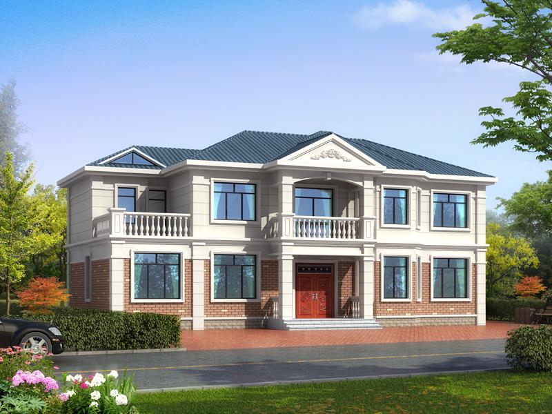 经济实用型二层田园小别墅设计图,房间数量较多,可做民宿