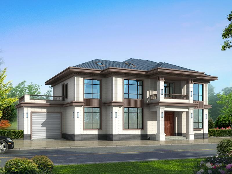 二层中式自建别墅设计图,带有室内车库,美观精致高端大气
