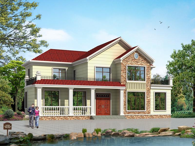 中式二层田园小别墅设计图,款式新颖占地202㎡,二层复式小别墅