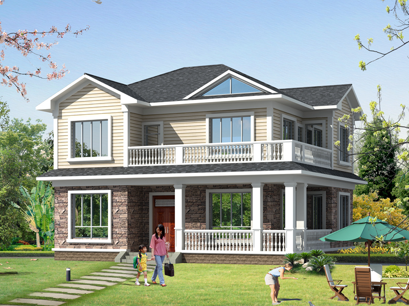 二层自建别墅设计图,占地124㎡小户型自建房,布局合理