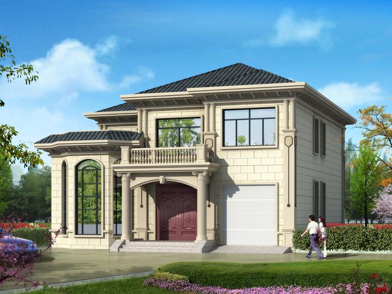 占地202.71㎡,13*17m二层自建别墅设计图,带有室内车库和大面积露台